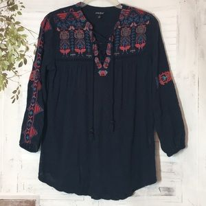 Lucky Brand embroidered tassel tie from top blouse